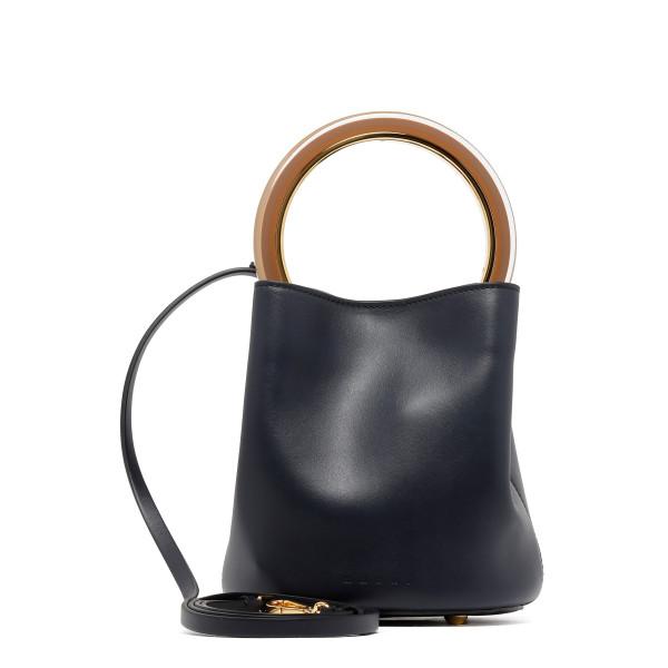 Pannier blue leather bucket bag