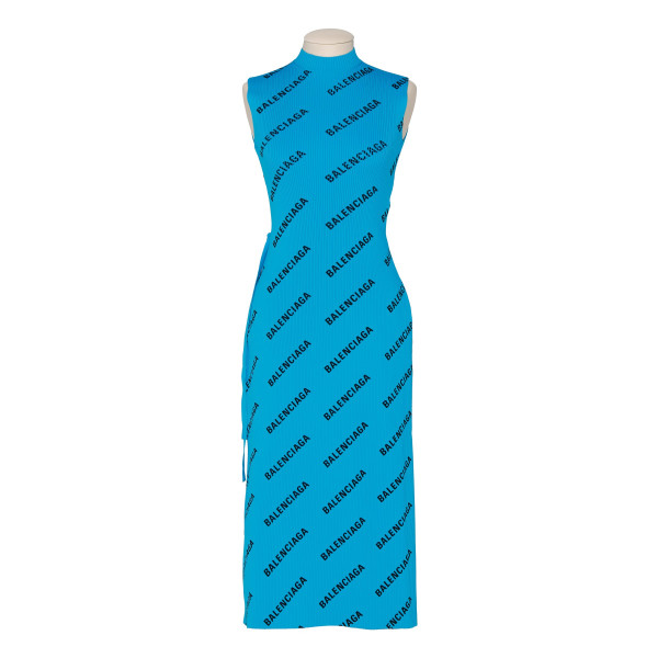 Blue allover logo wrap dress