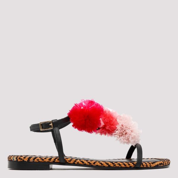Pom pom flat sandals