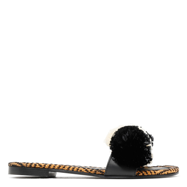 Biarritz peony black and ivory slippers