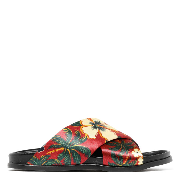 Honolulu print criss-cross slide sandals
