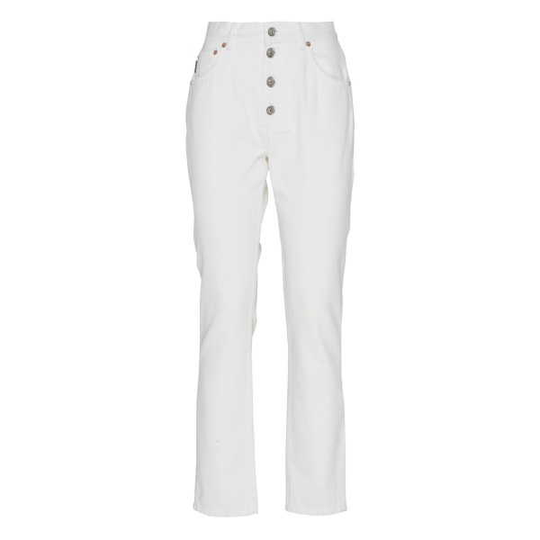 Tube white denim pants