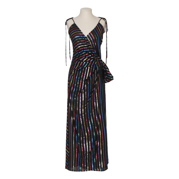 Multicolor striped lurex slip dress