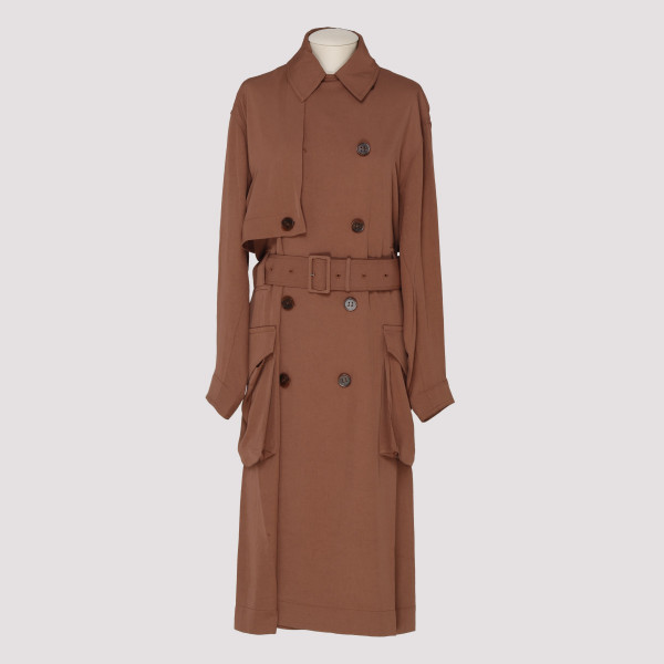 Dusty pink long trench coat