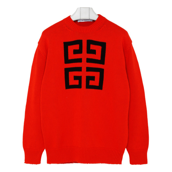 Red cotton 4G logo sweater