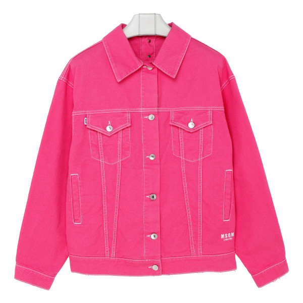 Fuchsia denim jacket with logo