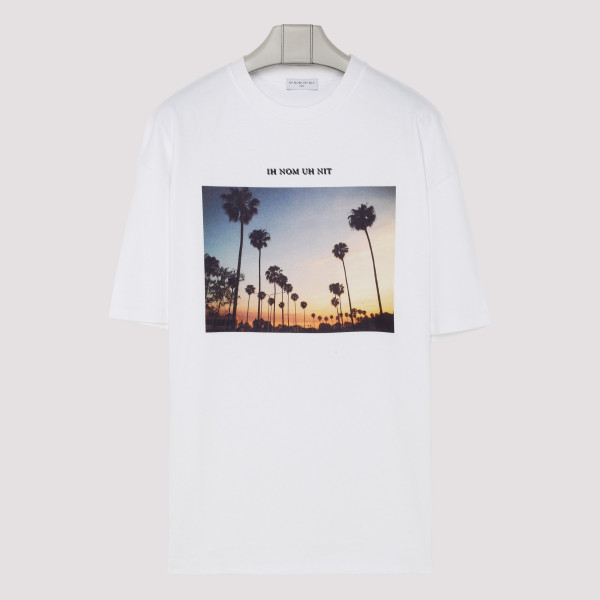 White T-shirt with sunset...