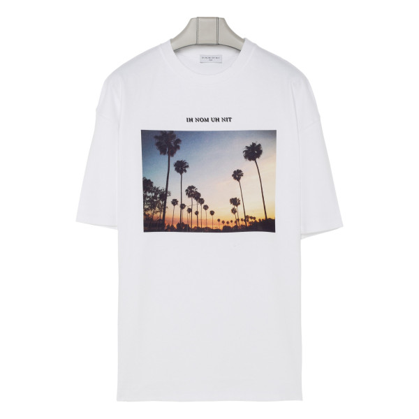 White T-shirt with sunset print
