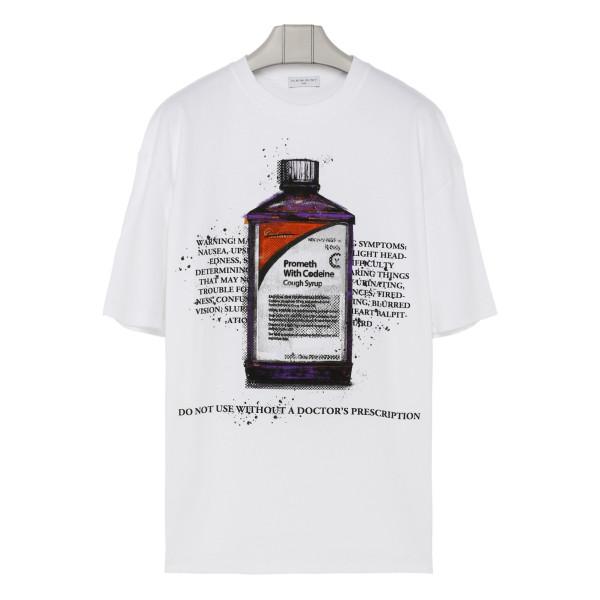 White T-shirt with Codeine print