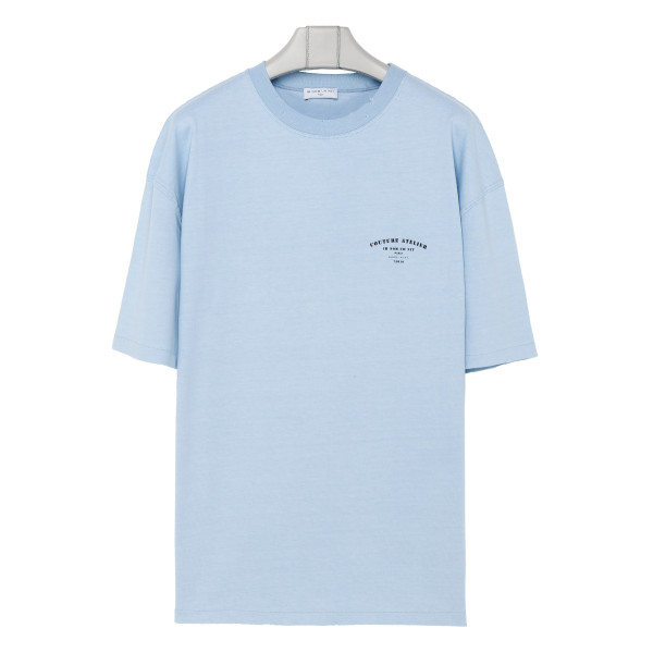 Light blue cotton Couture Atelier printed T-shirt