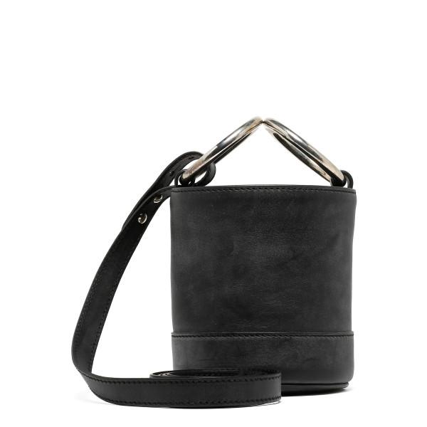 Bonsai black suede small bucket bag