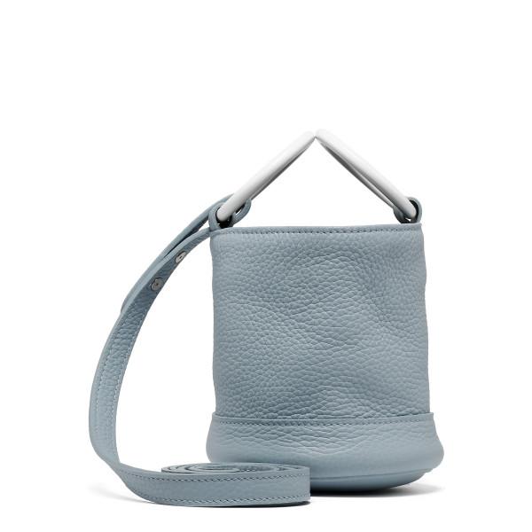 Grey petrol blue small bucket bag