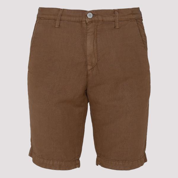 Brown linen-blend shorts