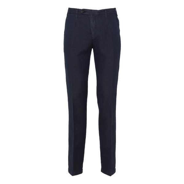 Blue cotton and linen blend pants