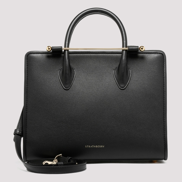 Black leather midi tote
