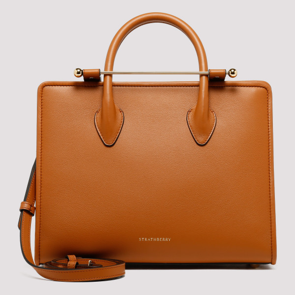 Tan leather midi tote bag