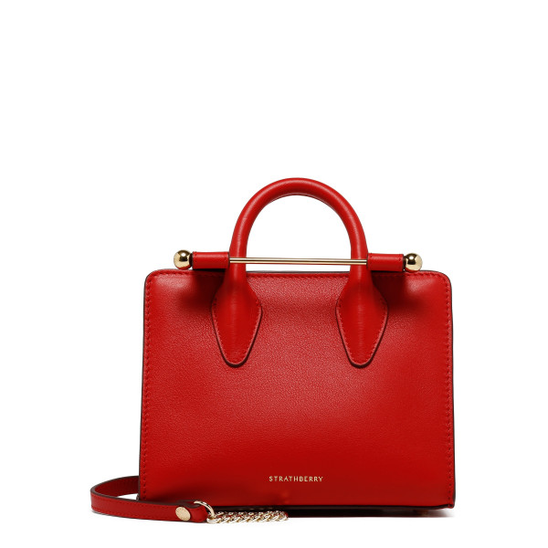 Ruby red leather nano tote