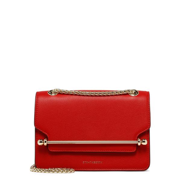 East/West ruby red mini crossbody bag