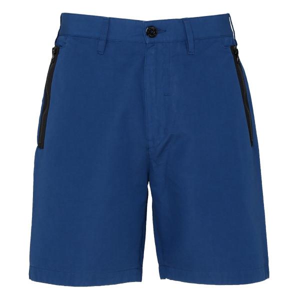 Blue cotton and linen blend bermuda