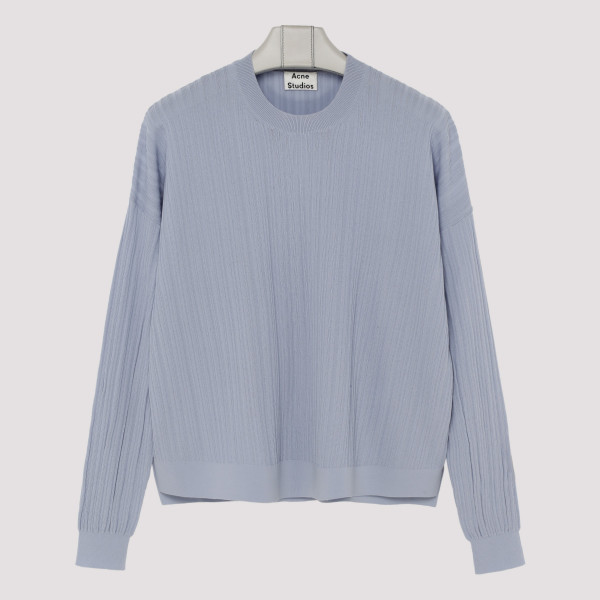 Pale blue cotton-blend sweater