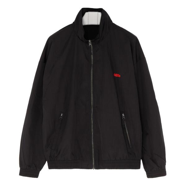Black bomber jacket with logo