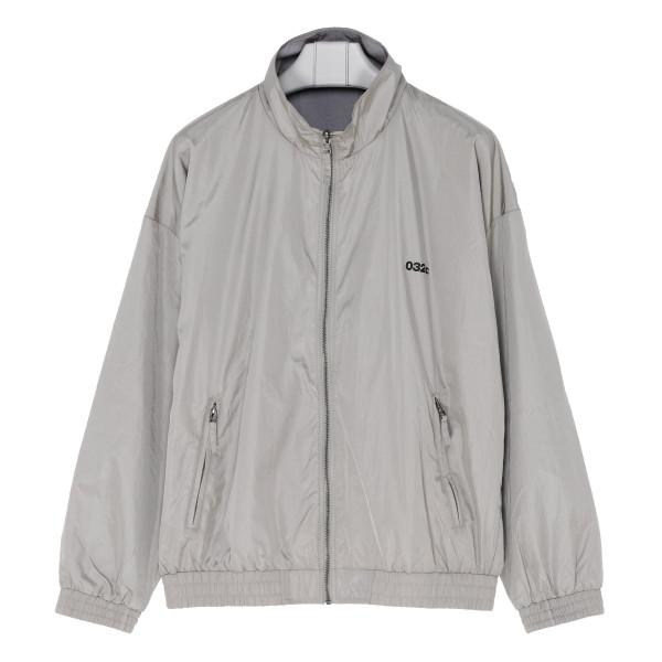 Gray bomber jacket with logo