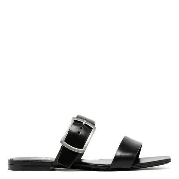 Oak black leather open sandals