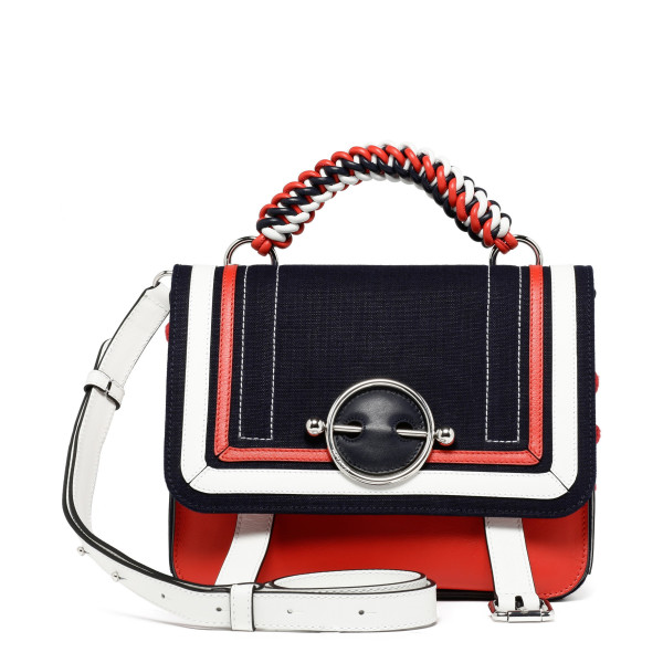 Disc navy and red satchel bag