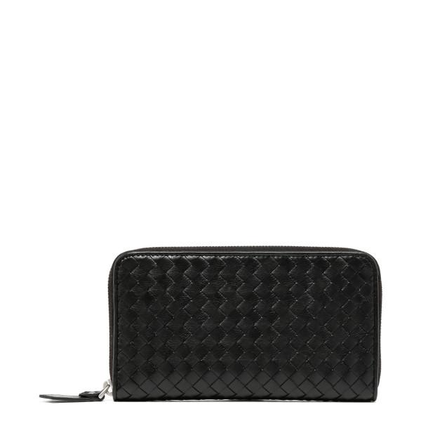 Intrecciato leather black continental wallet
