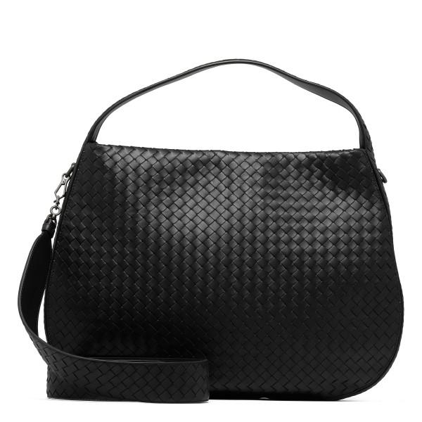 Black large intrecciato nappa city bag