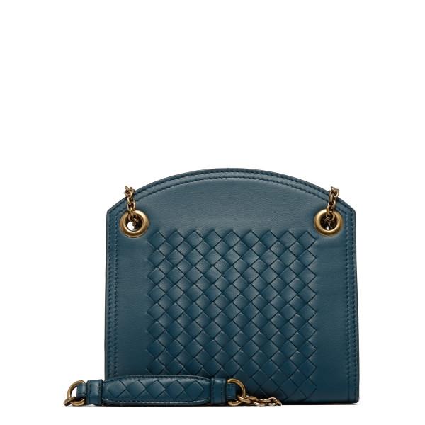 Blue intrecciato nappa leather chain wallet