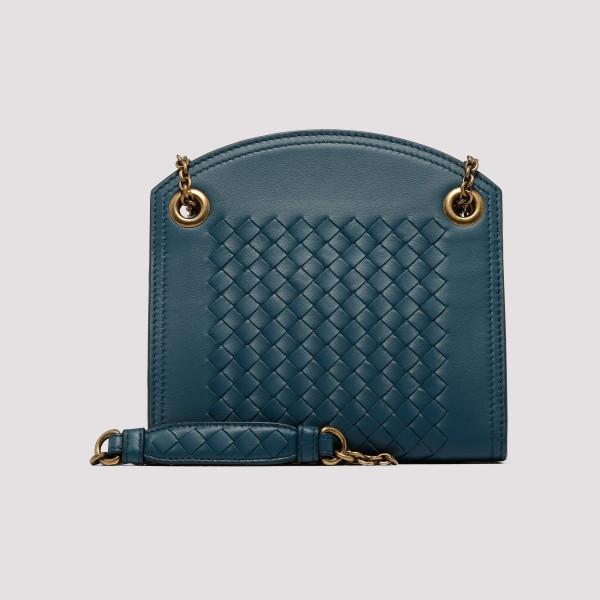 e43ecdd558 Blue intrecciato nappa leather chain wallet