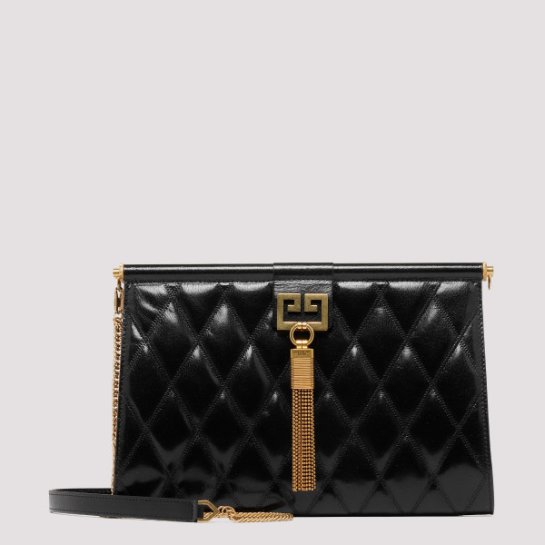 Black diamond quilted leather Medium gem Bag