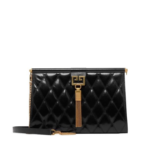 Black diamond quilted leather Medium gem Bag