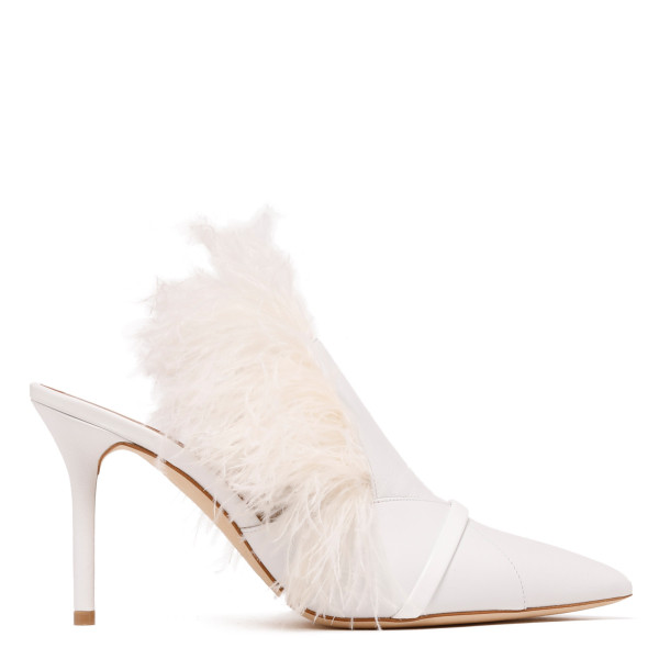 White Magda leather and feathers mules