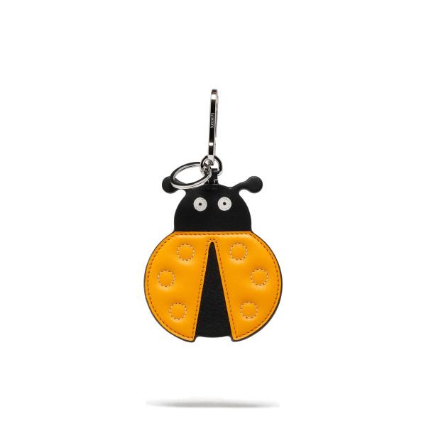 Yellow leather Ladybird keychain