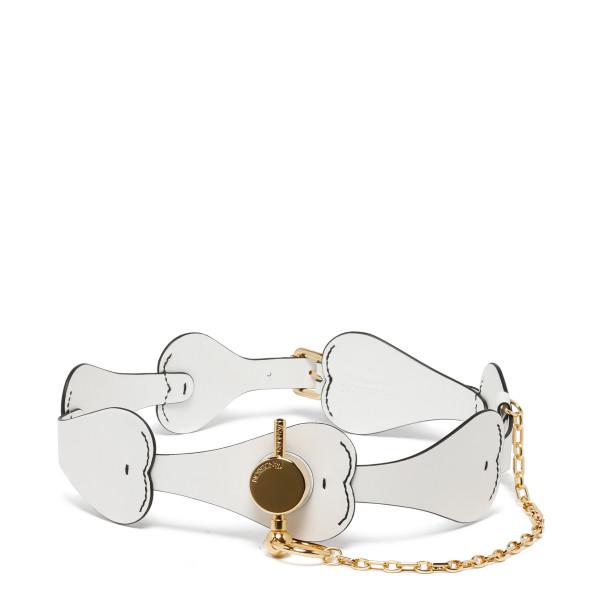 White leather heart belt