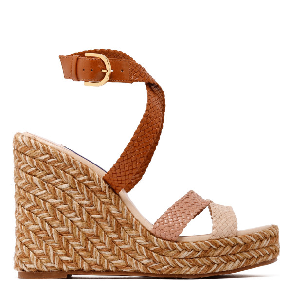 Elsie woven leather espadrille wedge sandals