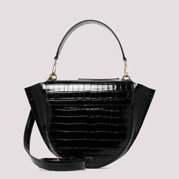 Black Hortensia Medium Shoulder Bag
