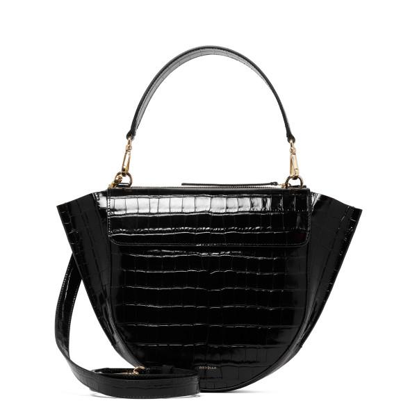 Black Hortensia Medium Shoulder Bag