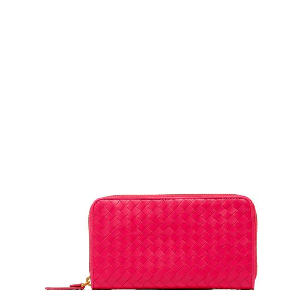 Neon pink Intrecciato leather zip around wallet