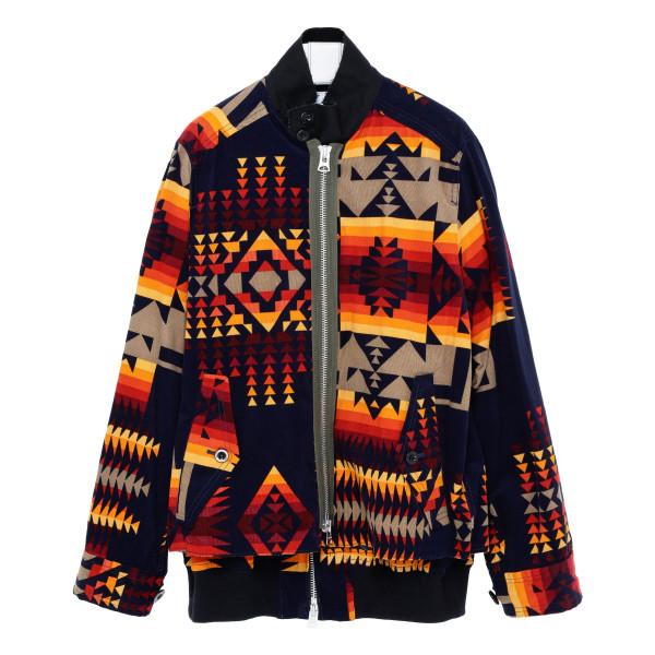 Multicolor cotton zipped bomber jacket