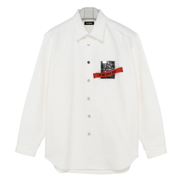 White shirt with Metallic leather-patch