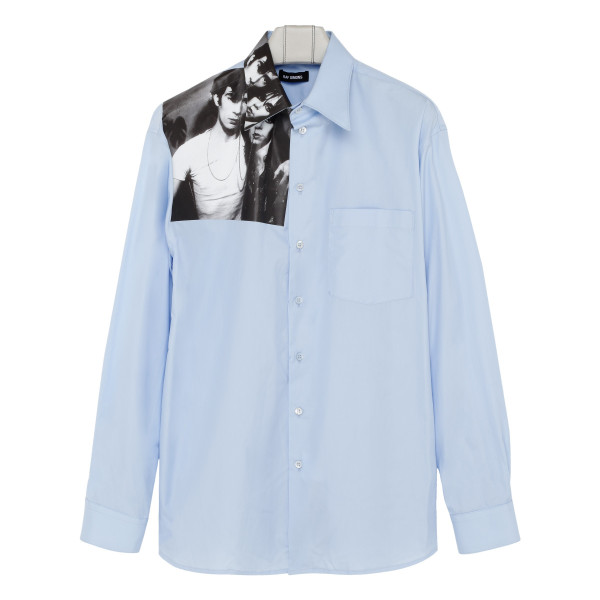 Graphic-print blue cotton shirt