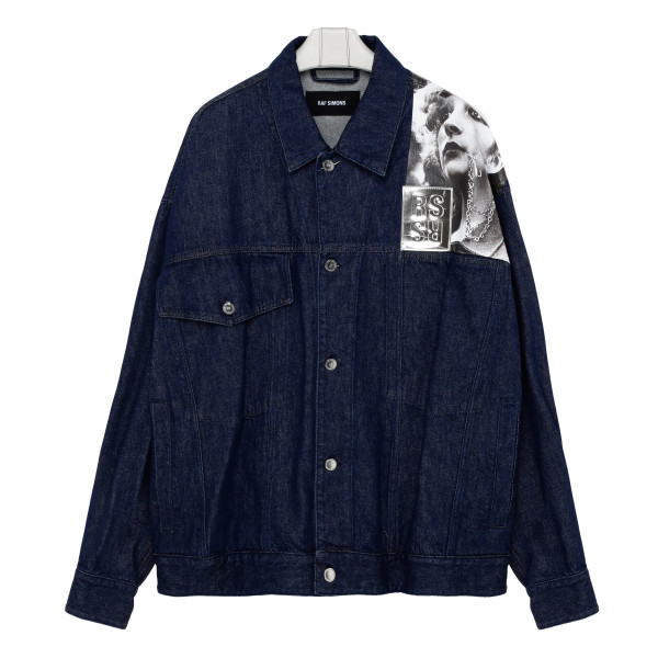 Blue denim jacket with Graphic-print