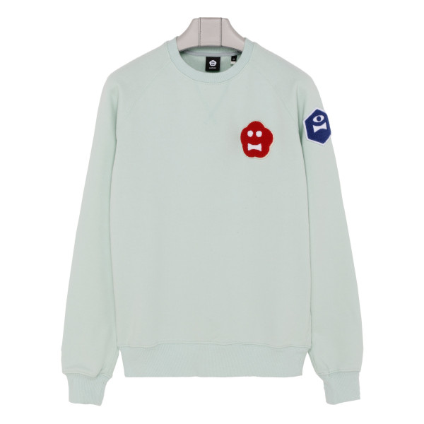Light blue sweatshirt with Kinky Atom patches