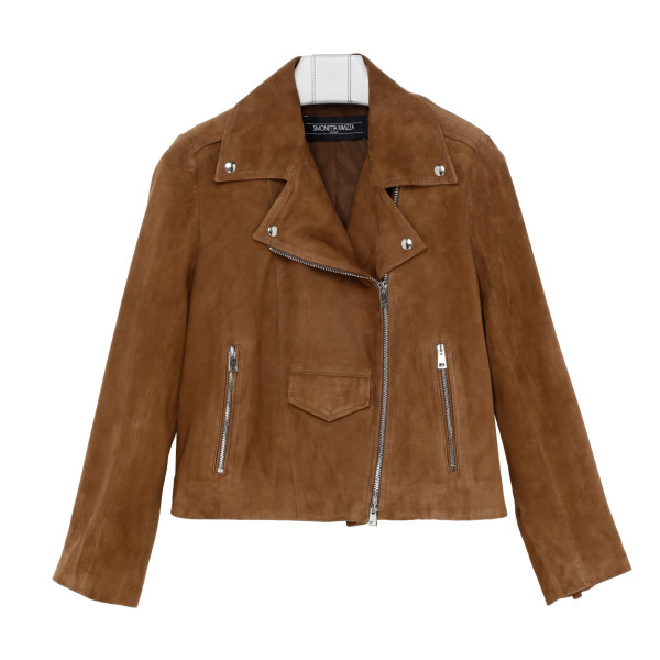 Tan suede leather jacket with fringes