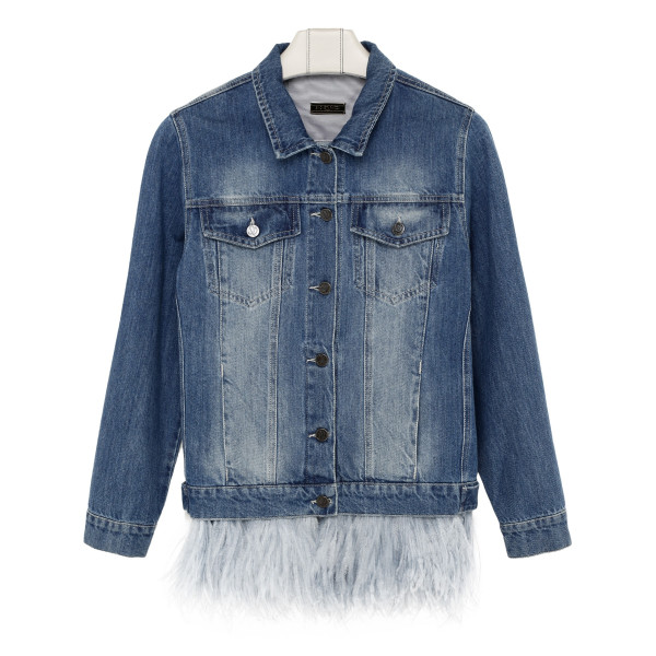 Blue denim jacket with ostrich feathers