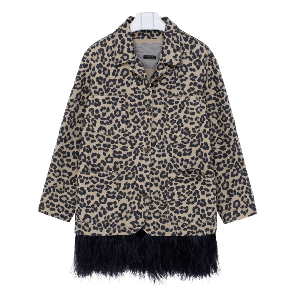 Animalier jacket with ostrich feathers