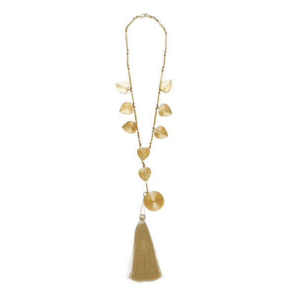 Gold-tone necklace with silk tassel